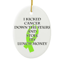 Cancer Bully (Lime Green Ribbon) Ceramic Ornament