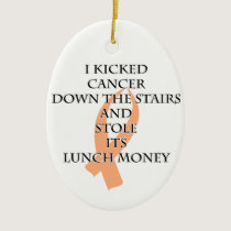 Cancer Bully (Peach Ribbon) Ceramic Ornament