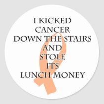 Cancer Bully (Peach Ribbon) Classic Round Sticker