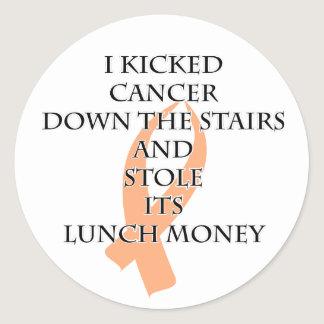 Cancer Bully (Peach Ribbon) Classic Round Sticker