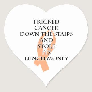 Cancer Bully (Peach Ribbon) Heart Sticker