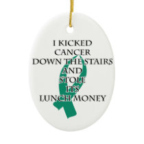 Cancer Bully (Teal Ribbon) Ceramic Ornament