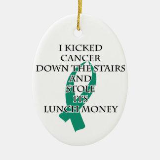 Cancer Bully (Teal Ribbon) Ceramic Ornament