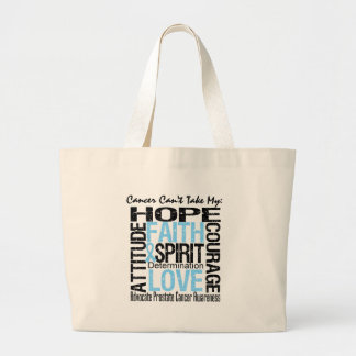 Cancer Can't Take My Hope Collage Prostate Cancer Canvas Bags