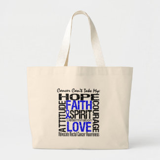 Cancer Can't Take My Hope Collage Rectal Cancer Large Tote Bag