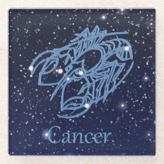 Cancer Constellation and Zodiac Sign with Stars Glass Coaster