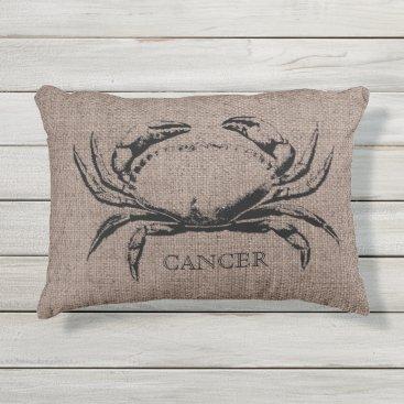Beach Themed Cancer Crab Burlap Linen Outdoor Pillow