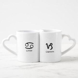 Cancer Crab & Capricorn goat Zodiac Astrology Coffee Mug Set
