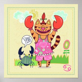 Cancer Crab Cat Zodiac Nursery Print