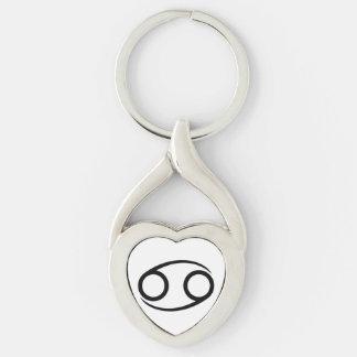 cancer crab greek astrology horoscope zodiac Silver-Colored Heart-Shaped metal keychain