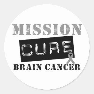 Cáncer de cerebro de la curación de la misión pegatinas redondas