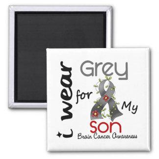 Cáncer de cerebro llevo el gris para mi hijo 43 imán cuadrado