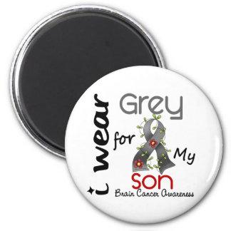 Cáncer de cerebro llevo el gris para mi hijo 43 imán redondo 5 cm