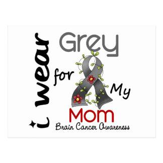 Cáncer de cerebro llevo el gris para mi mamá 43 tarjeta postal