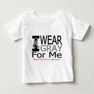 Cáncer de cerebro llevo la cinta gris para mí playera para bebé