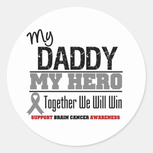 Cáncer de cerebro mi papá mi héroe juntos que etiquetas redondas