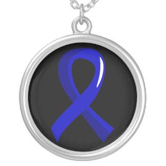 Cáncer de colon Blue Ribbon 3 Collar Plateado