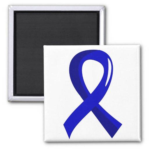 Cáncer de colon Blue Ribbon 3 Imán Cuadrado
