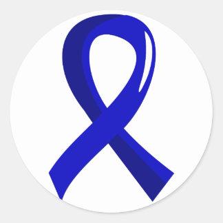 Cáncer de colon Blue Ribbon 3 Pegatina Redonda