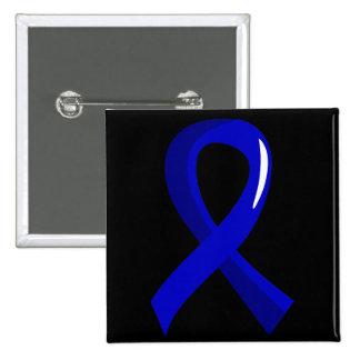 Cáncer de colon Blue Ribbon 3 Pin Cuadrado
