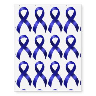 Cáncer de colon Blue Ribbon Tatuajes Temporales
