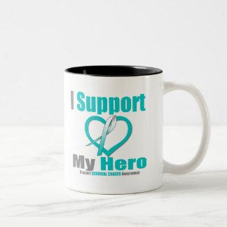 Cáncer de cuello del útero apoyo a mi héroe taza dos tonos