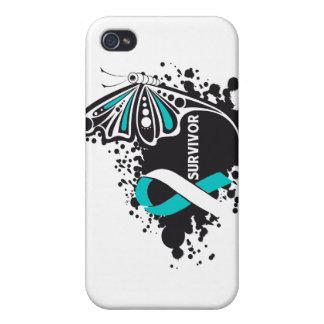Cáncer de cuello del útero de la mariposa abstract iPhone 4 protectores