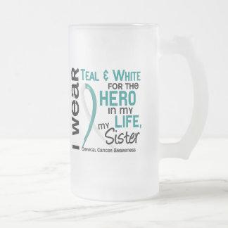 Cáncer de cuello del útero para mi héroe mi herman tazas de café