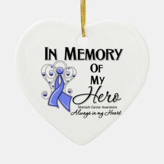 Cáncer de estómago en memoria de mi héroe adorno de cerámica en forma de corazón