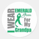 Cáncer de hígado llevo al abuelo del verde esmeral etiqueta redonda