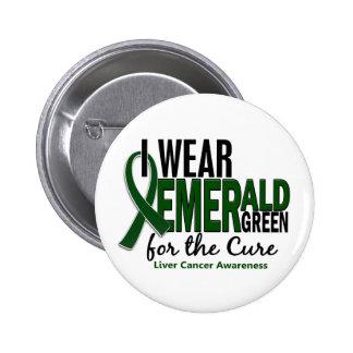 Cáncer de hígado llevo el verde esmeralda para la  pin redondo de 2 pulgadas