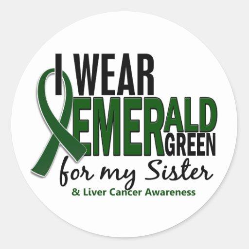 Cáncer de hígado llevo el verde esmeralda para mi pegatina redonda