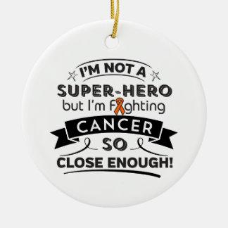 Cáncer de la leucemia no un super héroe adorno navideño redondo de cerámica