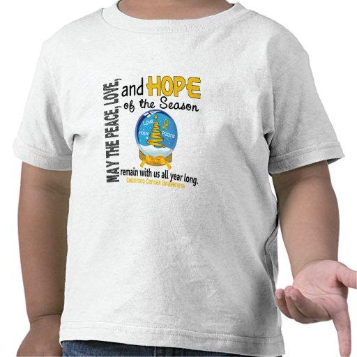 Cáncer de la niñez del globo 1 de la nieve del día camiseta