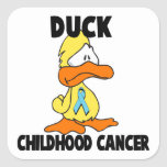 Cáncer de la niñez del pato calcomanías cuadradass personalizadas