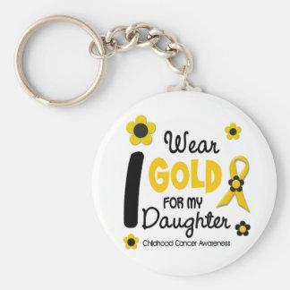 Cáncer de la niñez llevo el oro para mi hija 12 llavero redondo tipo pin