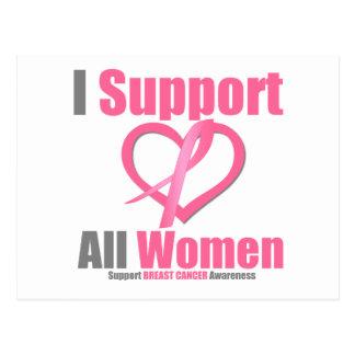 Cáncer de pecho apoyo a todas las mujeres postales