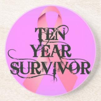 Cáncer de pecho cinta del superviviente de 10 años posavasos de arenisca
