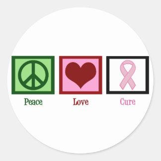 Cáncer de pecho de la curación del amor de la paz pegatina redonda