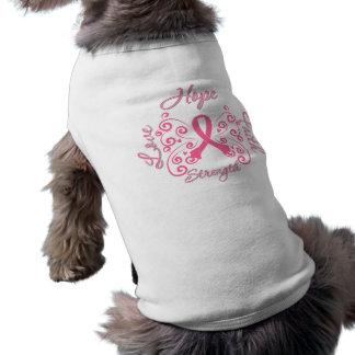 Cáncer de pecho de la fuerza del amor de la fe de  camiseta de mascota