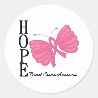 Cáncer de pecho de la mariposa de la esperanza etiqueta redonda