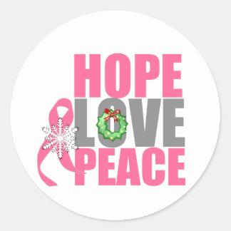 Cáncer de pecho de la paz del amor de la esperanza pegatina redonda