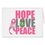 Cáncer de pecho de la paz del amor de la esperanza felicitación