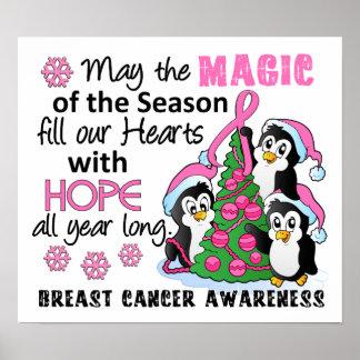 Cáncer de pecho de los pingüinos del navidad póster