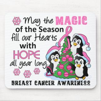 Cáncer de pecho de los pingüinos del navidad tapete de ratón