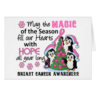 Cáncer de pecho de los pingüinos del navidad tarjeta de felicitación