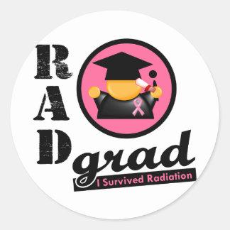 CÁNCER de PECHO del graduado de la radiación Pegatina Redonda
