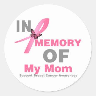Cáncer de pecho en memoria de mi mamá pegatina redonda