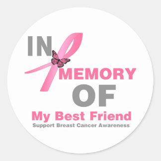 Cáncer de pecho en memoria de mi mejor amigo pegatina redonda