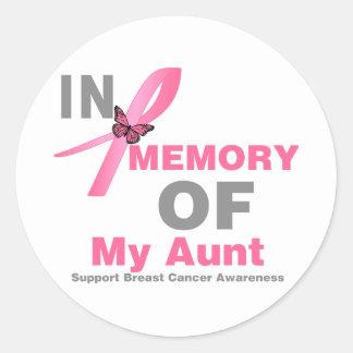 Cáncer de pecho en memoria de mi tía pegatina redonda